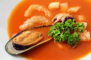 seafood soup closeup