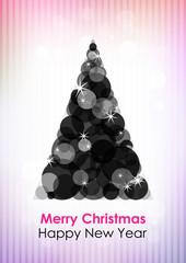 Black Christmas tree on pink-violet background. Vector version.