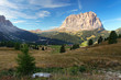 Gardena valley and Sassolungo (Langkofel) in Dolomites.