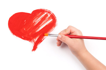 child draw a heart