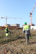 Field workers with cranes in the background