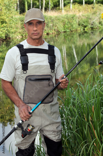Man fishing in pond