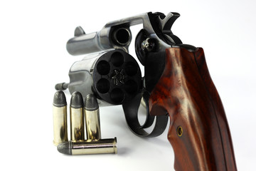 Close up of handgun revolver