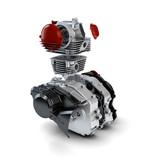 Disassembled motorcycle performance engine isolated on white