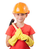 Child with a big hammer