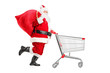 Santa Claus with a bag on his shoulder pushing a shopping cart