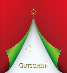 Weihnachts-Gutschein als Papier- Tannenbaum