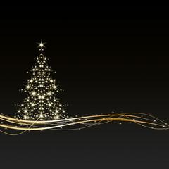 Weihnachten - Hintergrund - Baum - Sterne - Schwarz/Gold