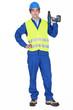 Man holding cordless drill