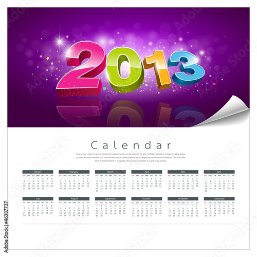 Vector Calendar 2013 new year background