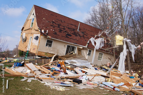 Foto op Canvas Onweer Tornado damage in Lapeer, Michigan.