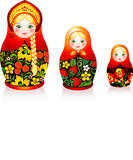 Three Russian tradition matryoshka dolls in hohloma style
