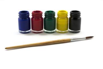 The bottle color, brush, art, background white
