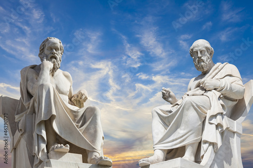 Poster Artistiek mon. Plato and Socrates,the greatest ancient greek philosophers