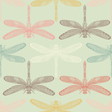 Dragonflies seamless pattern