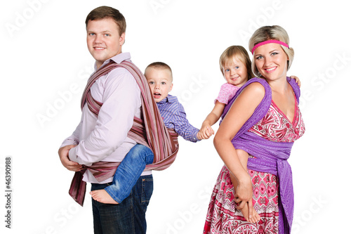 happy family with babies 3-4 years old in slings isolated on whi