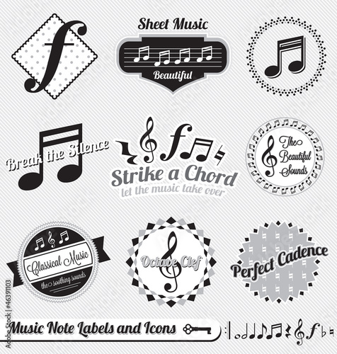 Vector Set: Vintage Music Notes Labels and Stickers