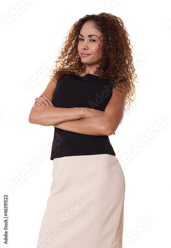 Confident businesswoman on white background.