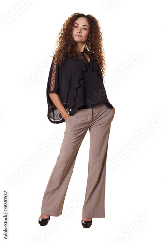 Fashionable woman on isolated white background.