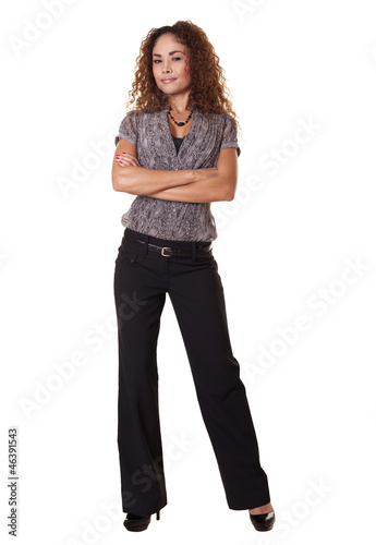 Woman standing isolated white background.