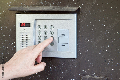 uses intercom in steel door