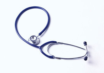 A stethoscope on the white background