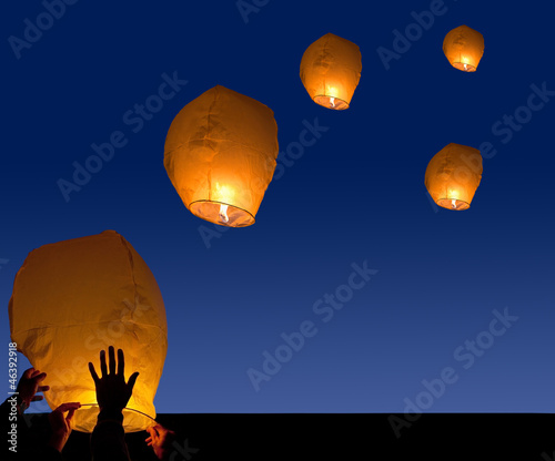 lanterns launch at night