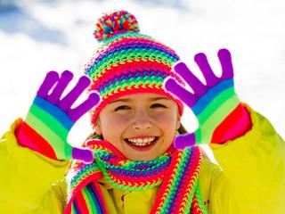 Winter fun - lovely girl has a fun in snow