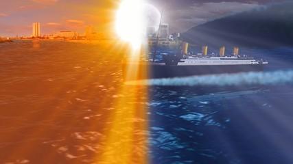 TITANIC sailing over sea at sunset and night
