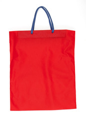 red cotton bag isolated on white