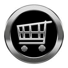 Koszyk ikona srebrny, samodzielnie na białym tle.