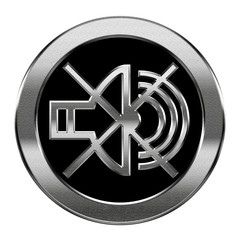 speaker off icon silver, isolated on white background.