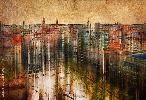 Hamburg skyline, Mischtechnik © Starpics