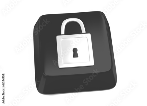 Lock icon in white on black computer key