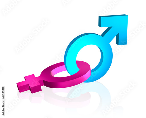 bounded gender signs 3d on white