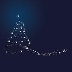 Weihnachten - Hintergrund - Sternbaum - Schweif - Blau/Silber