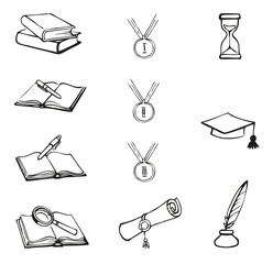 Vector graphic symbols of education