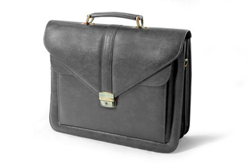 Leather business suitcase (black) - isolated