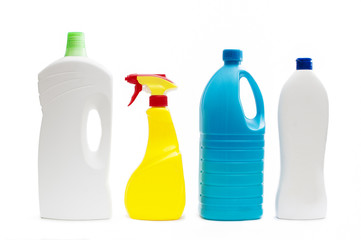 Plastic containers of cleaning products