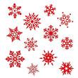 Set Eiskristall Schneeflocke Weihnachten Winter - 46398191