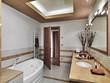bagno moderno con porta aperta