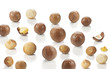 nuts of macadamia on white background