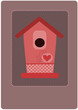 Pink empty bird feeder - vector illustration.