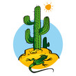 Cactus and Lizard