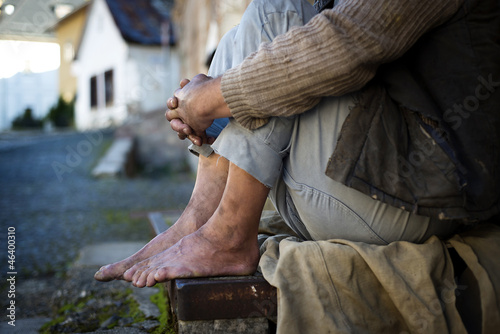 Homeless man feet