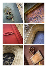 Porte, heurtoir, façade, maison, pierre, bois, architecture