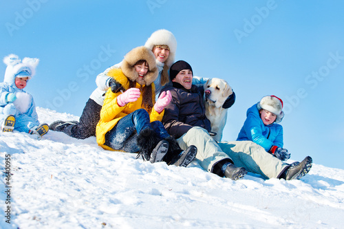 Winter family and a dog