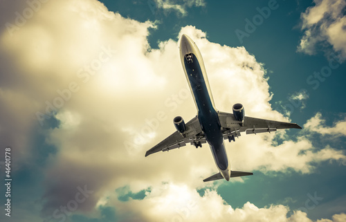 retro toned passenger jet abstract
