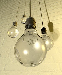 Hanging Light Bulbs And Fittings On A Wall