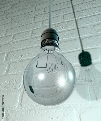 Hanging Light Bulb And Fitting On A Wall